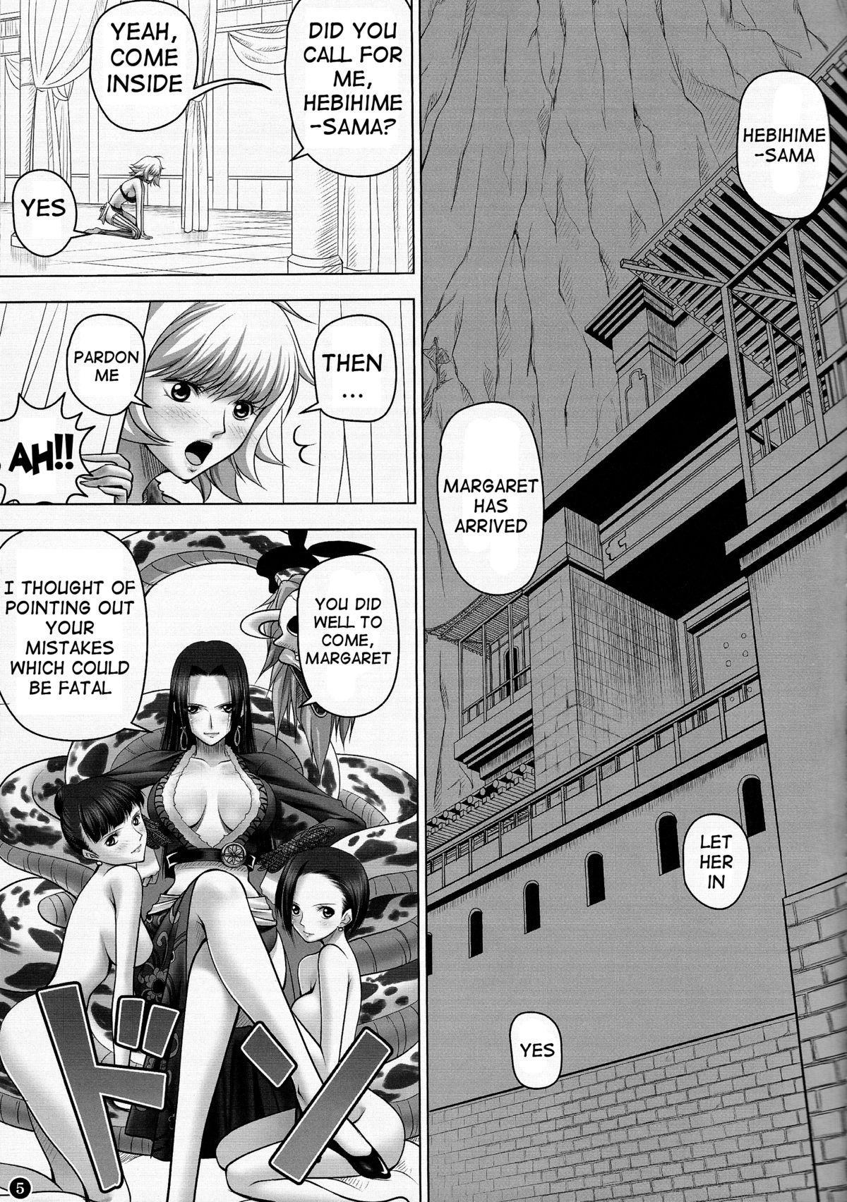 (C84) [Mikenekodou (Muten)] Hebihime-sama to Warui Mushi | Hebihime-Sama Punishes Margaret (One Piece) [English] {doujin-moe.us} 3